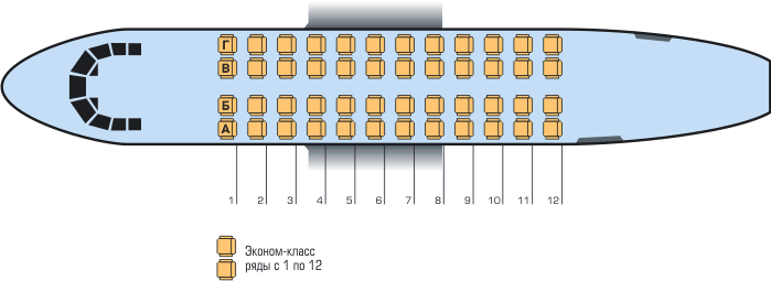 Схема салона самолета АН-24
