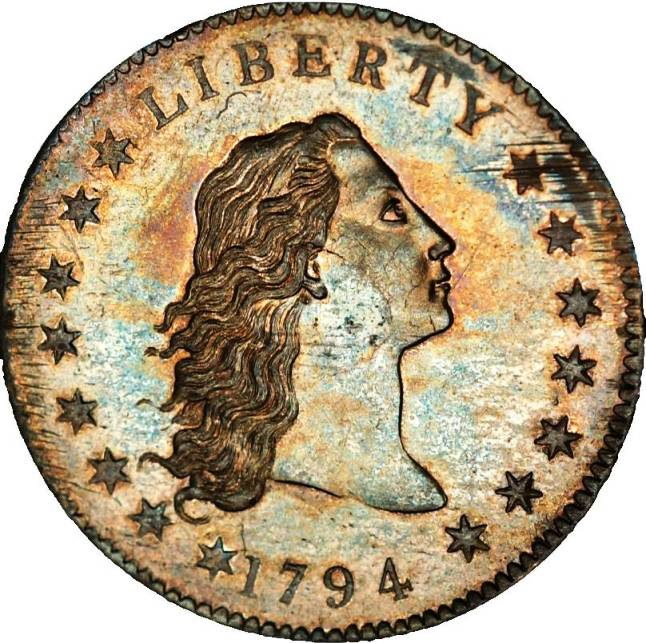1. Однодолларовая монета (Flowing Hair Dollar)