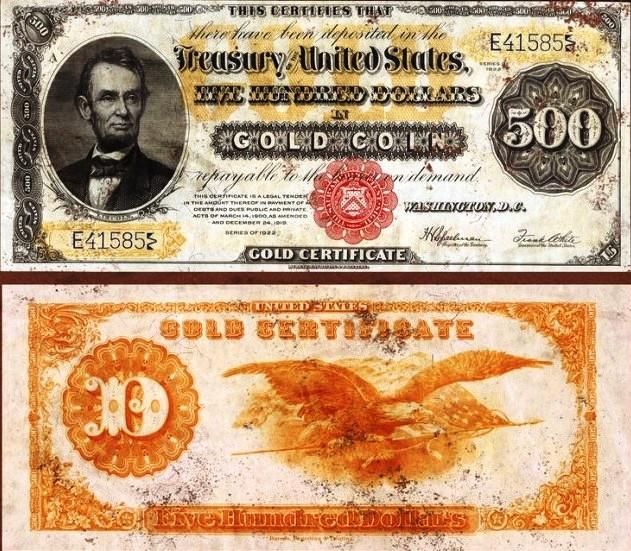 $ 500 золотой сертификат 1882 года